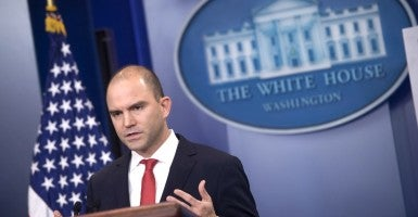 Ben Rhodes, the deputy national security adviser, speaks at the White House. (Photo: Kevin Dietsch/UPI/Newscom)