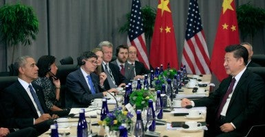 President Barack Obama holds a bilateral meeting with President Xi Jinping of the People's Republic of China. (Photo:  Dennis Brack/Newscom)