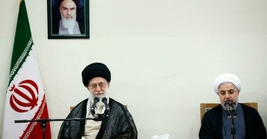 Supreme Leader of Iran Ali Khamenei and  president of Iran Hassan Rouhani. (Photo: AY-COLLECTION/SIPA/Newscom)