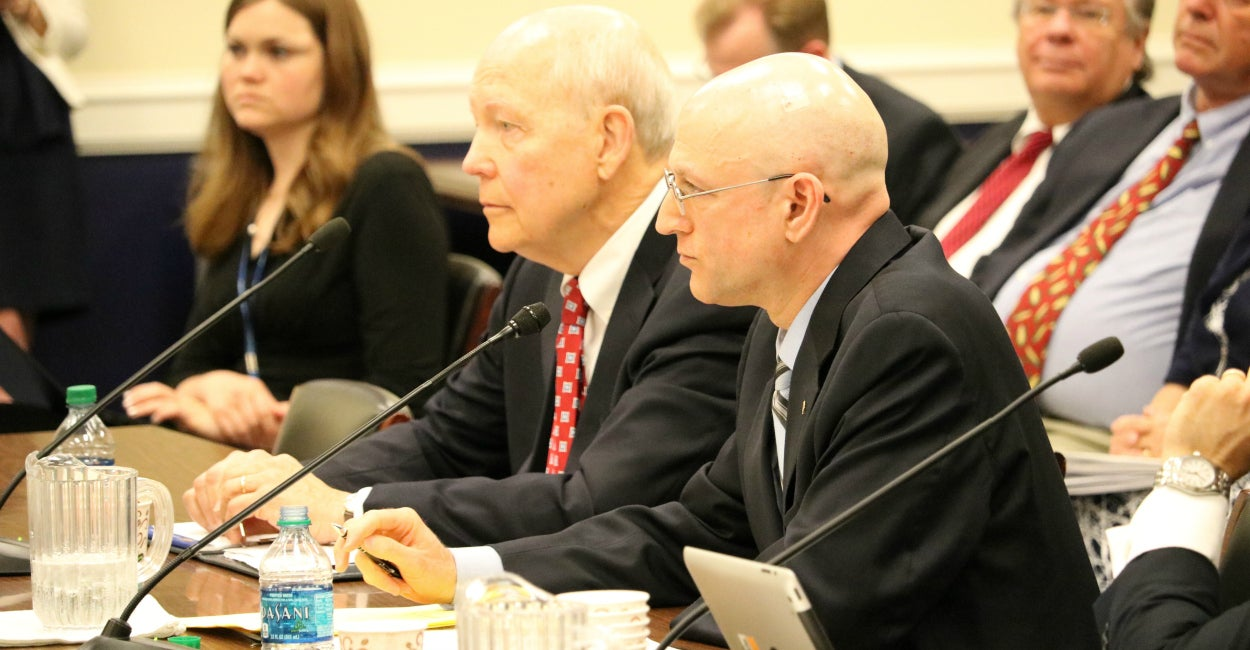 IRS Commissioner John Koskinen and IRS Criminal Investigations Division Chief Richard Weber testified before the House Ways and Means Oversight Subcommittee about the IRS's use of civil forfeiture and pursuit of structuring cases. (Photo: House Ways and Means Committee)