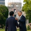 President Barack Obama with Japanese Prime Minister Shinzo Abe at the Hiroshima Peace Memorial Park. (Photo: Kimimasa Mayama / Pool/EPA/Newscom)