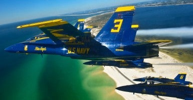 U.S. Navy Blue Angels fly in a delta formation over Pensacola, Florida. (Photo: U.S. Navy photo by Mass Communication Specialist 1st Class Terrence Siren)