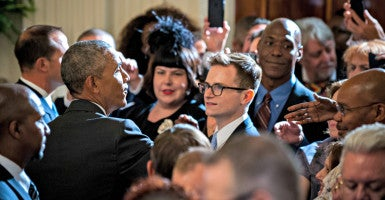 President Barack Obama works a rope line after delivering remarks June 9 in the East Room of the White House in recognition of LGBT Pride Month. (Photo: Pete Marovich/Pool/Newscom)