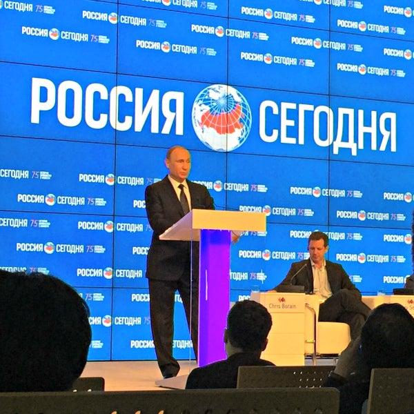 Russian President Vladimir Putin addresses the gathering of journalists.