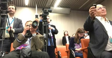 "Cameramen are among those documenting the action at the ""New Era of Journalism"" conference convened in Moscow by Russia's state-run news organization. (Photo by Sharyl Attkisson/The Daily Signal)"