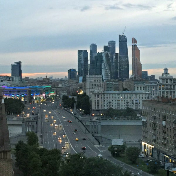 Dusk falls on Moscow.