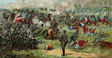 "This painting depicts Confederate Gen. Thomas Jackson at the First Battle of Bull Run, where he got the nickname ""Stonewall."" Where the general spent the night three days before is the subject of  a lawsuit. (Photo of ""Stonewall Jackson at the Battle of Bull Run"": Glasshouse Images/Newscom)"