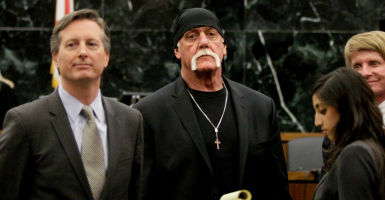 Hulk Hogan in court moments after the jury orders Gawker to pay him $15 million in punitive damages. (Photo: Dirk Shadd/Zuma Press/Newscom)