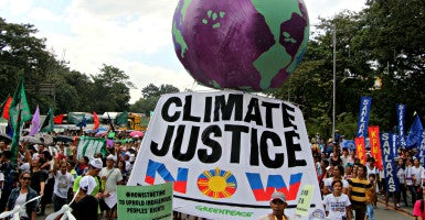 House Republicans seek details on links between activist state attorneys general and environmental groups such as Greenpeace, organizer of this demonstration in the Philippines on Nov. 28, 2015.  (Photo: Gregorio B. Dantes Jr. / Pacific Press/Newscom)