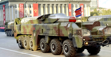 North Korean Musudan intermediate-range ballistic missile during a military parade in the country's capital, Pyongyang. (Photo: Kyodo/Newscom)