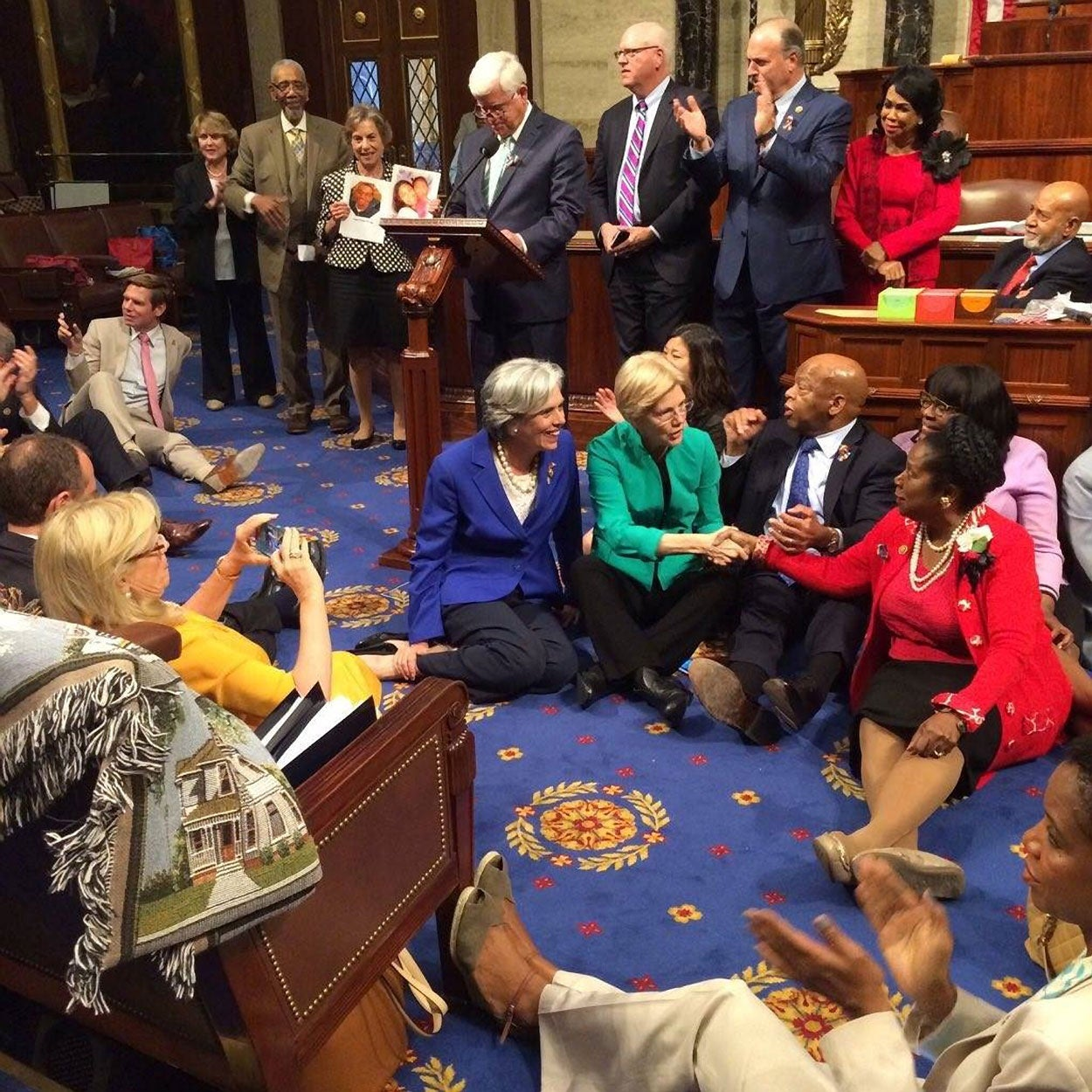 Democrats staged a 24-hour sit-in on the House floor in an effort to force a vote on gun control. (Photo: John Lewis/ZUMA Press/Newscom)