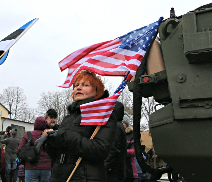 An appreciative observer of the U.S. Army's Dragoon Ride across the Baltics. (Photo: Nolan Peterson/The Daily Signal)