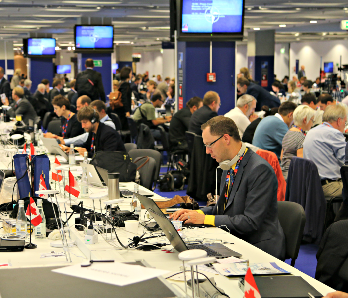 Inside the media center at NATO's summit in Warsaw, Poland. (Photos: Nolan Peterson/The Daily Signal)