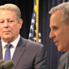 """Zero credibility"": A spokesman for New York Attorney General Eric Schneiderman, here with former Vice President Al Gore on March 29, 2016,  dismisses a House committee's subpoena.   (Photo: Andrew Schwartz/Splash News and Pictures/Newscom)"
