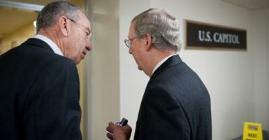 At a hearing for two Obama judicial nominees earlier this week, Judiciary Chairman Chuck Grassley, R-Iowa, pictured with Senate Majority Leader Mitch McConnell, R-Ky., boasted that he's held more hearings on Obama nominees than his Democrat counterpart did for President George W. Bush's nominees, 49 compared to 47.(Photo: Douglas Graham/CQ Roll Call Photos/Newscom)
