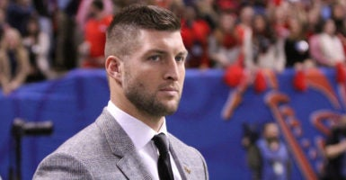 Tim Tebow on the sidelines during the Allstate Sugar Bowl on Jan. 1, 2016. The former NFL quarterback recently spoke at a Christian gathering in Washington, D.C.  (Photo: Scott Donaldson/Icon Sportswire /Newscom)