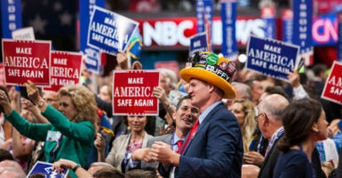 Delegates from all 50 states attend the Republican National Convention in downtown Cleveland, Ohio. The groups at the convention are whittled down to two: pro-Trump and anti-Trump, says a Montana delegate. (Photo: Natan Dvir /Polaris/Newscom)