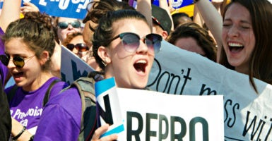 Pro-choice activists react to the Supreme Court's 5-3 ruling June 27, 2016, against a Texas law requiring health and safety standards at abortion clinics. (Photo: Patsy Lynch /Polaris/Newscom)