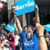 Bernie Sanders delegates from Florida and other states rally outside a hotel on the second day of the Democratic National Convention in Philadelphia. (Photo: Brian Cahn/  Zuma Press/Newscom)