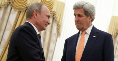 Russia's President Vladimir Putin and U.S. Secretary of State John Kerry meet at Moscow's Kremlin, July 14, 2016. Kerry met with Putin to propose close military coordination in Syria. (Photo: Metzel Mikhail/Zuma Press/Newscom)