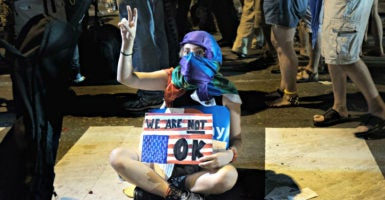A protester expresses herself outside the Democratic National Convention in Philadelphia. (Photo: Christopher Occhicone/Zuma Press/Newscom)