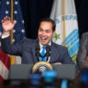 President Barack Obama flanks Julian Castro, secretary of Housing and Urban Development, which includes Ginnie Mae. (Photo: Andrew Harrer/Sipa USA/Newscom)