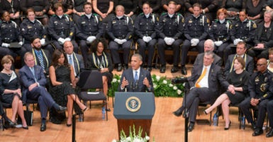 President Barack Obama speaks during a memorial service to honor five police officers in Dallas. (Photo: Danny Hurley/Polaris/Newscom)