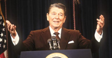 President Ronald Reagan, here at  a press conference in Washington on July 17, 1985, argued persuasively in support of trade. (Photo: Arthur Grace/Zuma Press/Newscom)