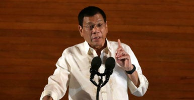 Philippine President Rodrigo Duterte's repudiation last month of the Paris climate treaty is particularly inconvenient for those pushing an activist policy agenda. (Photo: Rouelle Umali/Xinhua News Agency/Newscom)