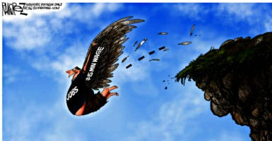 "Detail from a Michael Ramirez cartoon that bore a one-word caption: ""Icarus."" (Creators Syndicate)"