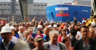 On June 16, Russia launched the massive nuclear-powered icebreaker Arktika, which displaces 33,500 tons. (Photo: Ruslan Shamukov/TASS /Newscom)