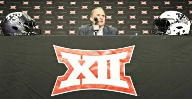Texas Christian University coach Gary Patterson meets the press in Dallas during Big 12 Football Media Day on July 18, 2016. (Photo: Ron T. Ennis/Fort Worth Star-Telegram/TNS/Newscom)
