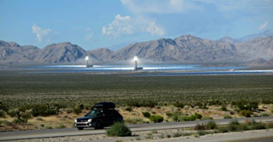 The Ivanpah Solar Electric Generating System, in the Mojave Desert of California, is one of the largest solar projects in the country. (Photo: Paul Harris/Photoshot/Newscom)
