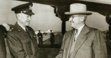 President Harry Truman seeing Gen. Dwight Eisenhower off to Paris, where he would begin organizing NATO, one of the strategic instruments used during the Cold War, Jan. 6, 1951. (Photo: Everett Collection /Newscom)