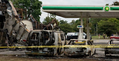A BP gas station near Sherman Park in Milwaukee, Wisconsin, after it was burned down by protestors. (Photo: Nima Taradji/Polaris /Newscom)