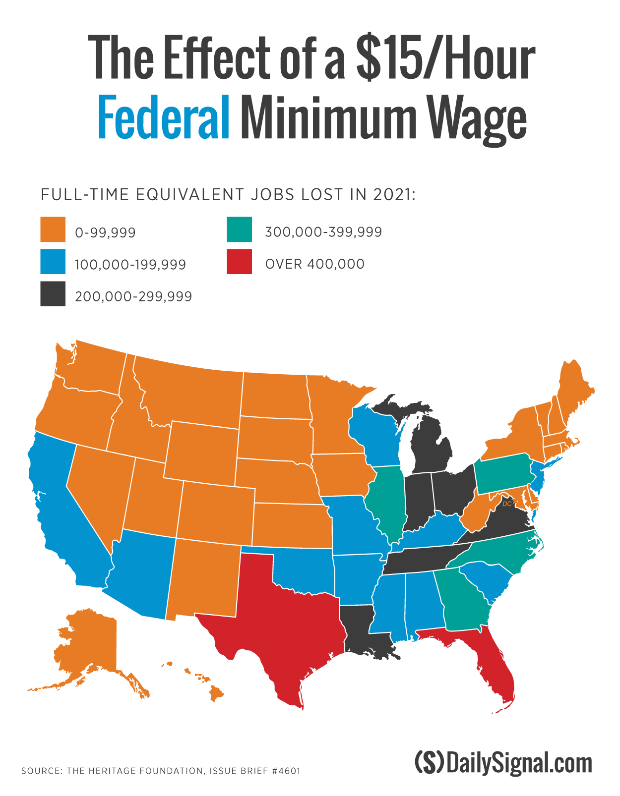 How Many Jobs States Could Lose With Minimum Wage - Minimum wage us map