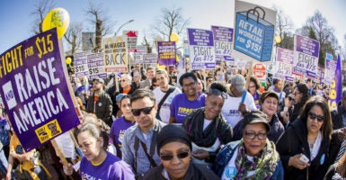 Labor unions and fast-food workers have pushed for a $15 an hour minimum wage, protesting in cities nationwide. However, a new study found that a $15 an hour minimum wage could lead to hundreds of thousands of job losses. (Photo: 2016 Marilyn Humphries /Newscom)