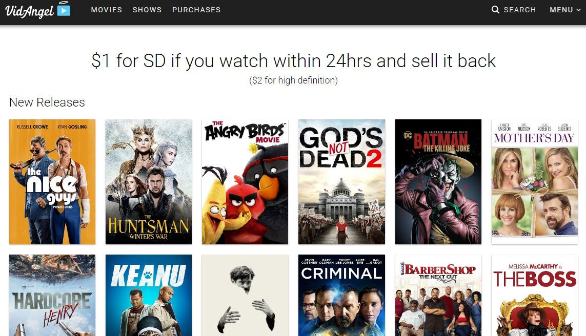 VidAngel has over 2,500 movie and TV show titles available for filtering. (Photo: VidAngel website)