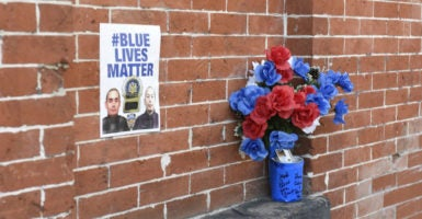 A Blue Lives Matter poster at the site where Officers Wenjian Liu and Rafael Ramos were assassinated, New York City, Dec. 20, 2015. (Photo: Andrew Katz/Zuma Press /Newscom)