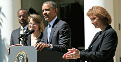 President Barack Obama successfully has appointed more than 320 federal judges. Here, he speaks in the Rose Garden on June 4, 2013, while announcing nominees to fill vacancies on the U.S. Court of Appeals for the District of Columbia. They are, from left, Robert Leon Wilkins, Cornelia Pillard, and Patricia Ann Millett. After floor fights, the Senate eventually confirmed all three. (Photo:  Kevin Lamarque/Reuters/Newscom)