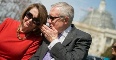 UNITED STATES - MARCH 16: House Minority Leader Nancy Pelosi, D-Calif., and Senate Minority Leader Harry Reid, D-Nev., attend a tree planting ceremony on the south side of the Capitol for the late Rep. Edward Roybal, D-Calif., the father Rep. Lucille Roybal-Allard, D-Calif., March 16, 2016. Roybal was a co-founder of the Congressional Hispanic Caucus and the red oak tree was planted on the centennial of his birth. (Photo By Tom Williams/CQ Roll Call)