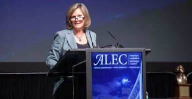 """If business doesn't stand up for itself in its right to engage in this debate and this dialogue, then they're going to lose their ability to do that,"" says Lisa Nelson, who took over as CEO of the American Legislative Exchange Council in 2014.  (Photo: American Legislative Exchange Council)"