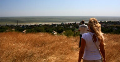 On a bluff overlooking the Sea of Azov outside of Mariupol. (Photo: Nolan Peterson/The Daily Signal)