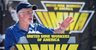 Cecil Roberts, president of United Mine Workers of America International, speaks Sept. 8, 2016, at a rally of retired mined workers and their families outside the U.S. Capitol.  (Photo: Shawn Thew/EPA/Newscom)