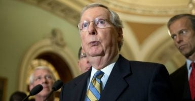 Senate Majority Leader Mitch McConnell's short-term spending bill contains nothing for conservatives to be happy about.  (Photo: Michael Reynolds /EPA /Newscom)