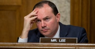 In a selfie-video, Sen. Mike Lee, R-Utah, explains why he voted against a short-term spending bill and says he plans to oppose all such deals. (Photo By Tom Williams/CQ Roll Call/Newscom)