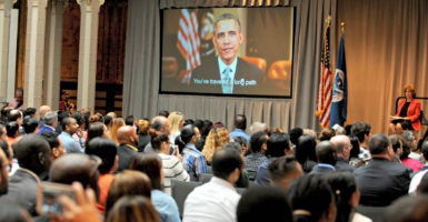 President Obama delivers a video message to 225 new U.S. citizens at a naturalization ceremony July 1, 2016, at the New York Public Library. (Photo: Dennis Van Tine/Sipa USA/Newscom)