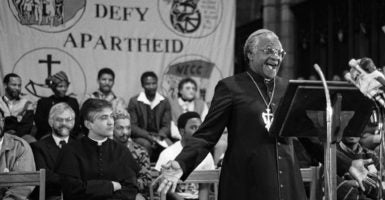 Under apartheid in South Africa, intermarriage between blacks, coloreds, and Indians on the one hand and whites was prohibited. In this undated photo, Archbishop Desmond Tutu addresses a Defiance Campaign gathering in Cape Town. (Photo: Eric Miller/Newscom)