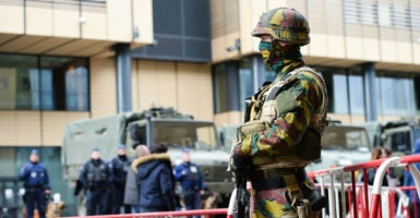 Security is reinforced around the Brussels-South railway station after two bombs exploded in the departure hall of Brussels Airport and another one in the Maelbeek subway station on March 22, 2016. The Islamic State claimed responsibility for the attacks. (Photo: JB Autissier /Panoramic/Starface/ Polaris/Newscom)