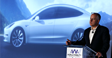 It's time for states such as Michigan to lift restrictions on direct-to-consumer car sales and let consumers decide how they want to buy. Pictured: Diarmuid O'Connell,  vice president of business development for Tesla Motors, speaks during the World Mobility Leadership Forum near Detroit on Sept. 29, 2016.  (Photo: Jeff Kowalsky/EFE/Newscom)